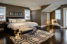 Fabulous Earth Tones Paint Colors Ideas in Bedroom Contemporary design ideas with alcove area rug bed bedding bench dark