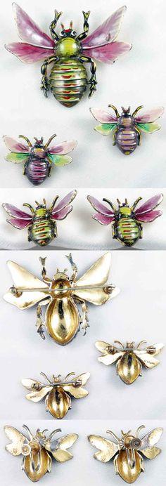 Walter Lampl Enameled Sterling Bee Set - Brooch, Scatter Pins, & Earrings