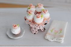 1:12 scale // Miniature Cupcakes With Peachy Pink Roses On door LittleThingsByAnna, $22.99