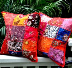 Gypsy Bohemian Pillow Cover - Vintage Sari Fabric - Red  $12.60