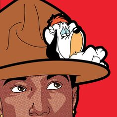 "Exclusive Pharell Williams Picture ""Happy"", Pop Icon by Grégoire Guillemin - #pharellwilliams #droopy #happy"