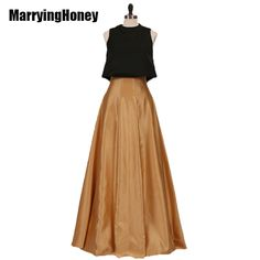 c3a2ccb0b72 Satin Two Piece Evening Dresses Plus Size Wedding Party Guests Gowns Puff  Top and Long Skirt