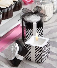 "Zebra Scented Candle Favors - Wedding Party Favors - coupon code is "" freeshipping """