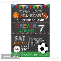 All-Star Birthday Bash Sports Invitation Chalkboard by peachpops
