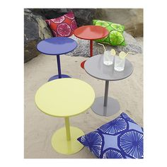 Fun and colorful side table!  Pedestal Marine Side Table in All Outdoor Sale   Crate and Barrel