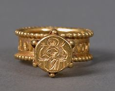 Gold Signet Ring with Virgin and Child  Date: 6th–7th century Culture: Byzantine Medium: Gold