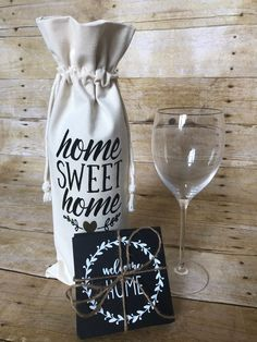 Housewarming Gift Baskets, Wine Gift Baskets, Housewarming Party, Wine Bottle Gift, Wine Gifts, First Home Gifts, New Home Gifts, Farmhouse Coasters, Bridal Shower Gifts For Bride