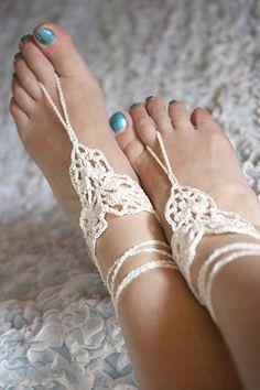 Barefoot sandals Beach wedding barefoot sandal White by MarryG, $15.00