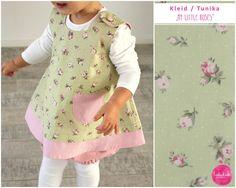 Kleider - grünes Baumwollkleid mit rosa Blumen und Tasche - ein Designerstück von lubukidz bei DaWanda