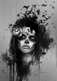 santa muerte tattoos black and white - Google Search