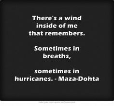 There is a wind inside of me that remembers.  Sometimes in breaths.  Sometimes in hurricanes.