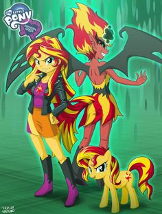 Sunset Shimmer: The Good, The Bad, and The Ugly....Sad this is an official poser that has her evil form...