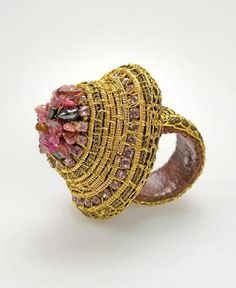 """by Voula Karampatzaki 2004 """"When I work on my jewellery I find myself… Greek Jewelry, Amethyst, Coral, Jewels, Rings, Silver, Gold, Blossoms, Collection"""