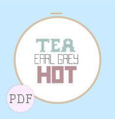 INSTANT DOWNLOAD Geeky Cross Stitch PDF Star Trek, Tea, Earl Grey, Hot on Etsy, $2.75