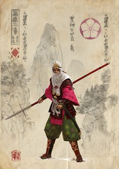 Wonderful Rising Sun Board Game Artwork by Adrian Smith Fantasy Concept Art, Fantasy Rpg, Dark Fantasy, Fantasy Samurai, Fantasy Inspiration, Character Inspiration, Character Concept, Character Art, Adrian Smith