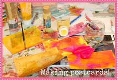 I've started cutting postcard sized pieces. I've printed me some faux postal stamps and realize they're a bit big for stamps. Next time I'll make smaller stamps. Maybe with more empowerment!I'm painting backgrounds, mostly using pink. And orange because it's beautiful. I hope this is the start of some awesome postcards. Diy Postcard, Postcard Size, Love Mail, Mail Art, Oprah Winfrey, Stamps, Backgrounds, Orange, Printed