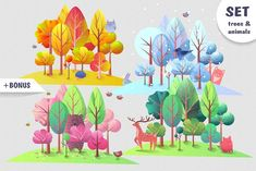 Trees and animals in cartoon style. by JiyuuArt on Cartoon Styles, Four Seasons, Graphic Design, Design Art, Trees, Templates, Illustration, Motivational, Inspiration