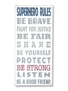 superhero rules - kid's room,new baby signs - Wall Decor from Barn Owl Primitives