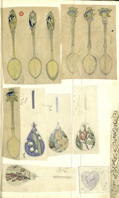 "Gustav Gaudernack scetches. Watercolour,pencil and ink. Enamel guilloche box and naturalistic silver and enamel spoons, some ""Florida Ware"" Tegning (skissebok) @ DigitaltMuseum.no"
