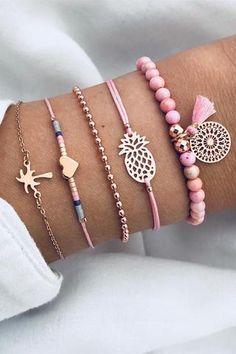 Niedliche Coco Herz Ananas gewebte Armbänder Set – Lupsona # … - diy jewelry To Sell Ideen Cute Jewelry, Diy Jewelry, Beaded Jewelry, Jewelery, Jewelry Accessories, Jewelry Necklaces, Fashion Jewelry, Jewelry Making, Silver Jewelry