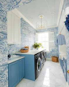 Laundry day is a breeze in this fabulous laundry room, featuring our Zia bamboo chandelier! Designed by: Alexander Interiors Nashville // Photo: Leslee Mitchell // Laundry Room Lighting, Laundry Room Shelves, Small Laundry Rooms, Laundry Room Design, Laundry Room Wallpaper, Toile Wallpaper, Laundry Room Inspiration, New Blue, House Design