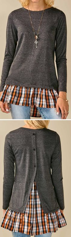 This would be fun for everyday. I like the necklace as well. Don't like the oranginess of the plaid portion of the shirt, but different plaid or a solid color would work well.