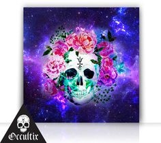 Skull Spiritual Canvas Print 50x50cm galaxy space by Occultix