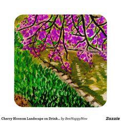 Cherry Blossom Landscape on Drink Coaster Set