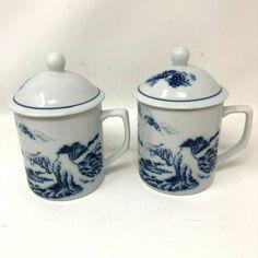 Asian Blue White Porcelain Covered Coffee Mug Tea Cup Trees Mountains - Set of 2 #HengdaCerantes