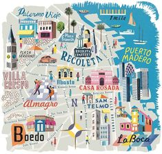 Local Beat in Buenos Aires Argentina's debonair capital hums 'round the clock, from morning coffee to late-night tango. Here's an inside look at what to do, eat, and buy in the city. Recoleta Cemetery, Argentina Travel, Argentina Map, South America Travel, Map Design, City Maps, Future Travel, Travel Posters, Travel Around The World
