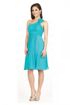 Blue A-Line/Princess One Shoulder Empire Sleeveless Homecoming Dresses With Flower(s) HD14B2