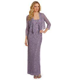 Alex Evenings Sequined Lace Jacket Dress   Dillard's Mobile