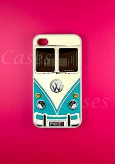 Iphone 4 Case - VW Minibus Teal Iphone Case,Iphone 4s Case