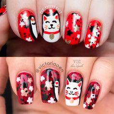Vic and Her Nails: VicCopycat - Maneki Neko Nail Art by Chalkboard Nails<br> Cat Nail Art, Cat Nails, Shiny Nails, Love Nails, Gorgeous Nails, Pretty Nails, Chalkboard Nails, Polka Dot Nails, Winter Nail Designs