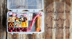 Tackle box turned road trip snack solution! A great way to dole out snacks while on the road with kids. From @DineandDish