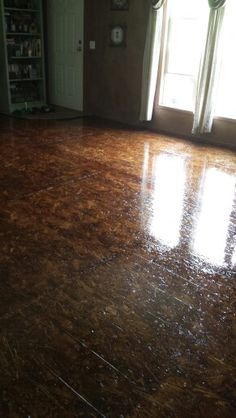 OSB stained floor with floor polyurethane
