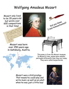 Love format for composer bio!Wolfgang Amadeus Mozart - Music History for Kids-Kinda cool site with biographies and links to cool activites for Music History Cc Music, Music For Kids, Mozart For Kids, Music Lesson Plans, Music Lessons, Amadeus Mozart, History For Kids, Music Composers, Piano Teaching
