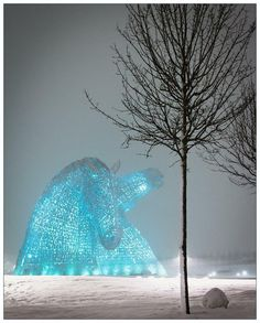 The Blue Kelpies in the Snowstorm, Falkirk, Scotland
