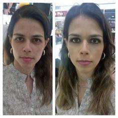 Antes e depois feito pela cliente Michelly Bart no curso de automaquiagem na loja da NYX do Shopping Vitória.