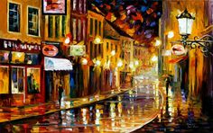 LIGHTS OF THE OLD TOWN - PALETTE KNIFE Oil Painting On Canvas By Leonid Afremov http://afremov.com/LIGHTS-OF-THE-OLD-TOWN.html?bid=1&partner=20921&utm_medium=/vpin&utm_campaign=v-ADD-YOUR&utm_source=s-vpin
