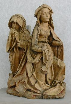 Tillmann Riemenschneider_Trauernde Frauen_1508 Wood Carving Art, Wood Art, Wood Carvings, Catholic Art, Religious Art, Madonna, Wooden Statues, Medieval, European Paintings