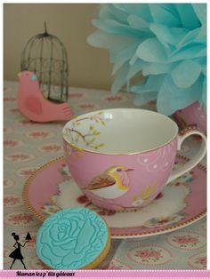 Sablés décorés, vintage, oiseau, fleur