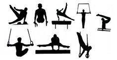 Male Gymnast Gymnastics Silhouette Die Cut Files by aerostitcher, $6.50