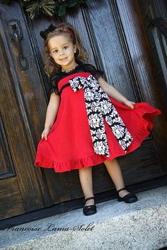 Girls dress Christmas holiday red black formal corduroy twirl dress Size 12 months to 12 years Bella Milano on Etsy, $85.00