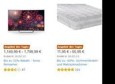 Amazon: Matratzenschoner und Sony-TVs mit Rabatt https://www.discountfan.de/artikel/technik_und_haushalt/amazon-matratzenschoner-und-sony-tvs-mit-rabatt.php Für einen Tag sind bei Amazon Matratzenschoner, Sommerdecken, Sony-Fernseher und ausgewählte Whiskys zu Schnäppchenpreisen zu haben. Die Produkte glänzen mit sehr guten Bewertungen. Amazon: Matratzenschoner und Sony-TVs mit Rabatt (Bild: Amazon.de) Die Matratzenschoner mit Rabatt sind ab sofort u... #Matratzen, #TV