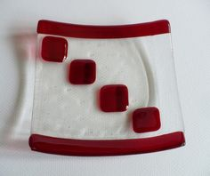 Fused Glass dish with Red by Smokeylady54 on Etsy, $9.50