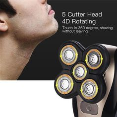 5 in 1 Rechargeable Electric Shaver Five Floating Heads Razors Hair Clipper Nose Ear Hair Trimmer Men Facial Cleaning Brush How To Trim Mustache, Head Shaver, Shaving Machine, Nose Hair Trimmer, Best Shave, Facial Cleansing Brush, Beard Trimming, Brush Cleaner, Cleanser