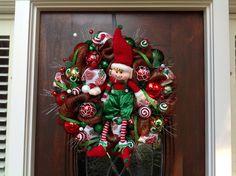 Happy Elf Wreath by HertasWreaths on Etsy
