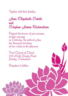 Could change to your wedding colors Pink and Purple Lotus Flower Invitation sample E Invitation Wedding, Free Printable Wedding Invitations, Inexpensive Wedding Invitations, Purple Wedding Invitations, Invitation Kits, Flower Invitation, Wedding Invitation Templates, Invite, Wedding Budget Breakdown