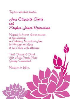 Lotus Flower Wedding Invitation
